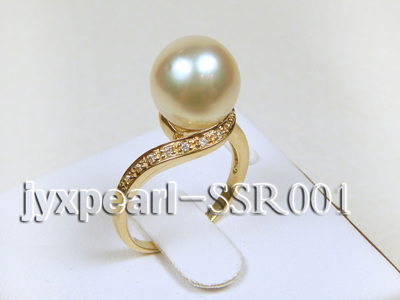 10.6mm white round south sea pearl ring with 14k yellow gold and zircons big Image 2