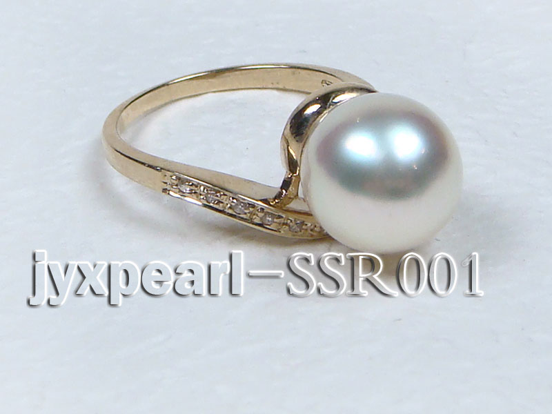 10.6mm white round south sea pearl ring with 14k yellow gold and zircons big Image 3