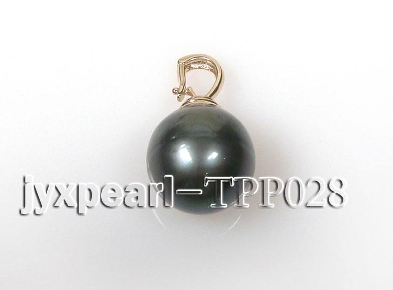 15.5mm black round tahitian pendant with soild 14k yellow gold big Image 3