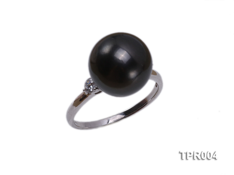 11.7mm black round tahitian pearl ring with 14k white gold ring shank big Image 1