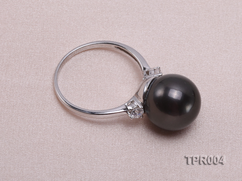 11.7mm black round tahitian pearl ring with 14k white gold ring shank big Image 3