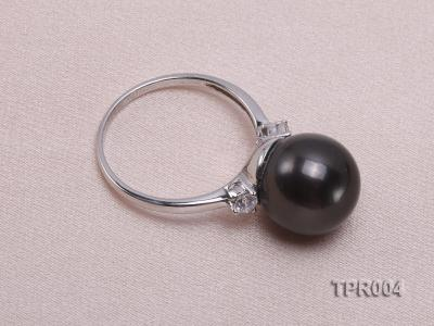 11.7mm black round tahitian pearl ring with 14k white gold ring shank TPR004 Image 3