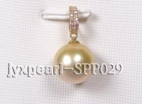 11.7mm golden round south seas pearl pendant with 14k yellow gold and zircons  SPP029