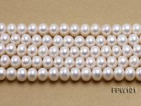 Wholesale 7.5x10mm White Flat Freshwater Pearl String FPW101