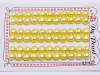 Wholesale Cards of 8-8.5mm Yellow Flat Pearls--33 Pairs LF132