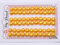 Wholesale Cards of 8-8.5mm Golden Flat Pearls--33 Pairs LF133