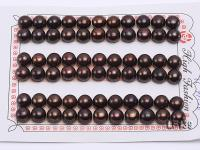 Wholesale Cards of AA-grade 8-8.5mm Coffee Black Flat Freshwater Pearls---33 Pairs LF139