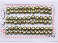 8-8.5mm Loose Greenish Yellow  Flat Pearl for Earring Making LF134