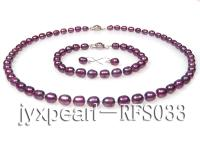 7-8mm dark purple oval freshwater pearl necklace,bracelet and earring set RFS033