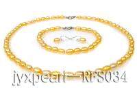 6-7mm pink oval freshwater pearl necklace,bracelet and earring set RFS034