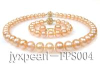 11-12mm pink flat freshwater pearl necklace,bracelet and earring set FPS004