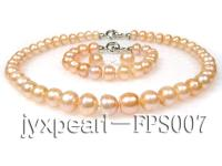 11-12mm pink flat freshwater pearl necklace,bracelet and earring set FPS007