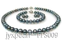 9-10mm peacock freshwater pearl necklace,bracelet and earring set FPS009