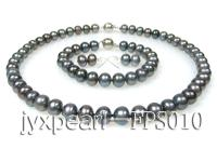 9-10mm black flat freshwater pearl necklace,bracelet and earring set FPS010