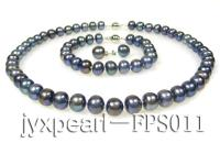 9-10mm black flat freshwater pearl necklace,bracelet and earring set FPS011