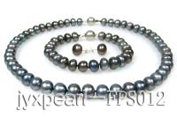 9-10mm black flat freshwater pearl necklace,bracelet and earring set FPS012