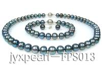 9-10mm peacock freshwater pearl necklace,bracelet and earring set FPS013