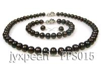 9-10mm dark brown flat freshwater pearl necklace,bracelet and earring set FPS015