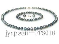 7-8mm black flat freshwater pearl necklace,bracelet and earring set FPS016