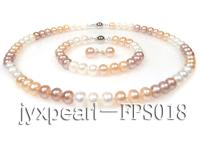 8-9mm white,pink and lavender flat freshwater pearl necklace,bracelet and earring set FPS018