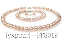 8-9mm lavender flat freshwater pearl necklace,bracelet and earring set FPS019