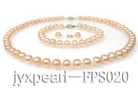 8-9mm pink flat freshwater pearl necklace,bracelet and earring set FPS020