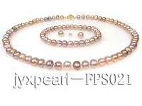 7-8mm lavender flat freshwater pearl necklace,bracelet and earring set FPS021