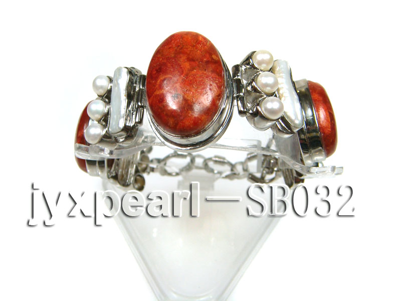 Red Coral beads, White Freshwater Pearls and Shell white Bracelet big Image 1