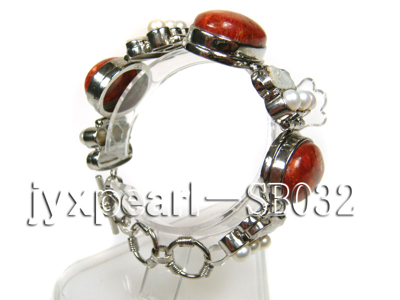 Red Coral beads, White Freshwater Pearls and Shell white Bracelet big Image 2