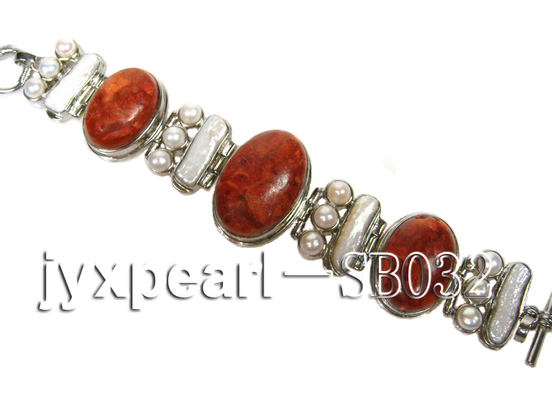 Red Coral beads, White Freshwater Pearls and Shell white Bracelet big Image 3