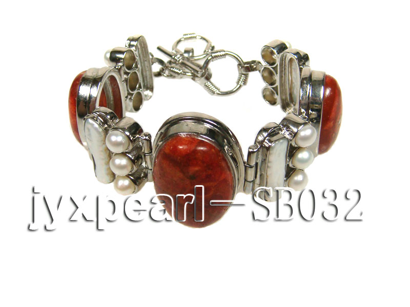 Red Coral beads, White Freshwater Pearls and Shell white Bracelet big Image 4