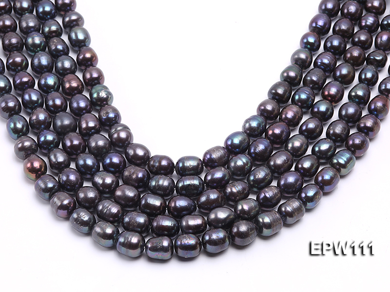 Wholesale 11x12mm Black Rice-shaped Freshwater Pearl String big Image 2