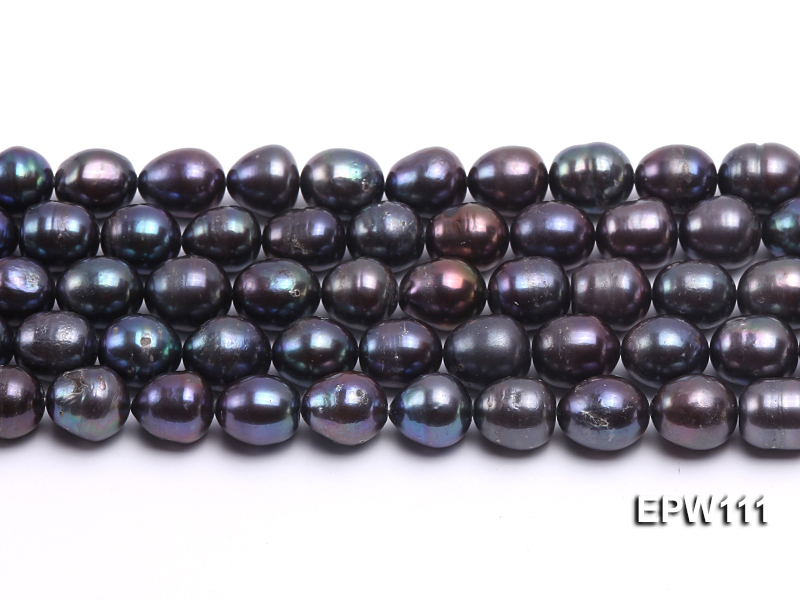 Wholesale 11x12mm Black Rice-shaped Freshwater Pearl String big Image 1