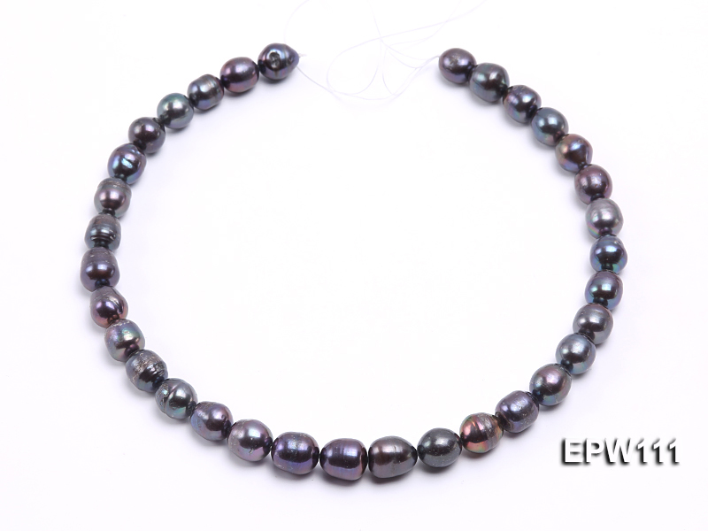 Wholesale 11x12mm Black Rice-shaped Freshwater Pearl String big Image 3