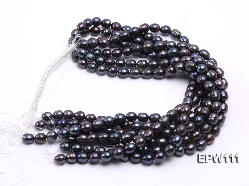 Wholesale 11x12mm Black Rice-shaped Freshwater Pearl String big Image 4