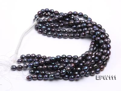 Wholesale 11x12mm Black Rice-shaped Freshwater Pearl String EPW111 Image 4