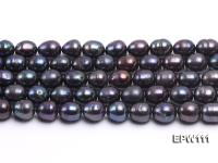 Wholesale 11x12mm Black Rice-shaped Freshwater Pearl String EPW111