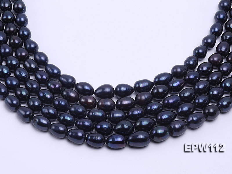 High-quality Super-size 12-15mm Black Rice-shaped Freshwater Pearl String big Image 2