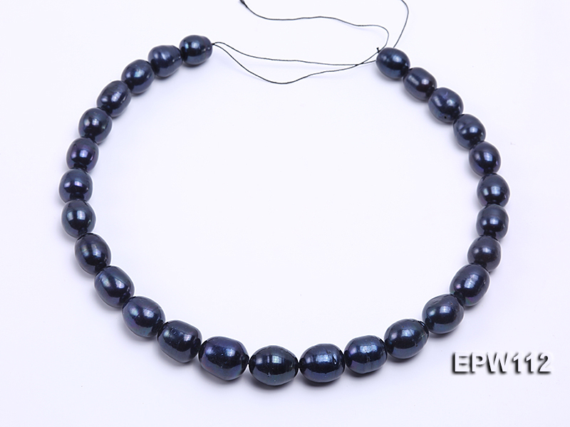 High-quality Super-size 12-15mm Black Rice-shaped Freshwater Pearl String big Image 3