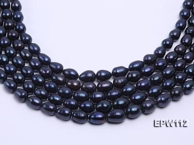 High-quality Super-size 12-15mm Black Rice-shaped Freshwater Pearl String EPW112 Image 2