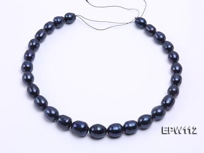 High-quality Super-size 12-15mm Black Rice-shaped Freshwater Pearl String EPW112 Image 3