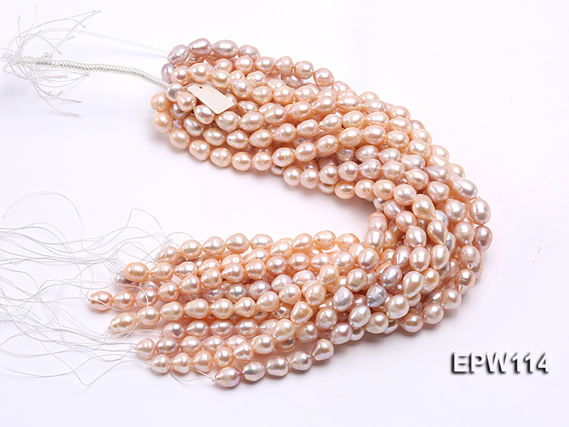 Wholesale 11x13mm Pink Rice-shaped Freshwater Pearl String big Image 4