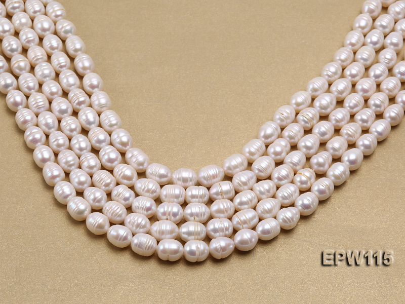 Wholesale 10x12.5mm Rice-shaped Freshwater Pearl String big Image 2