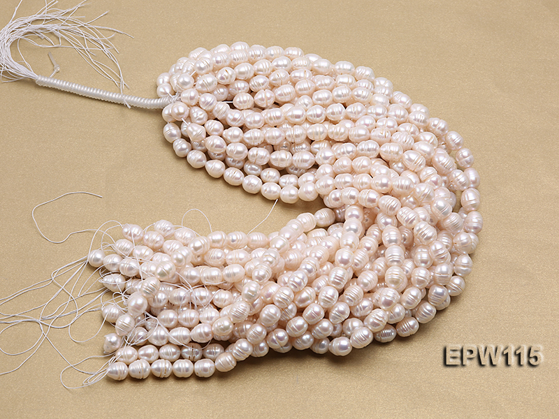 Wholesale 10x12.5mm Rice-shaped Freshwater Pearl String big Image 4