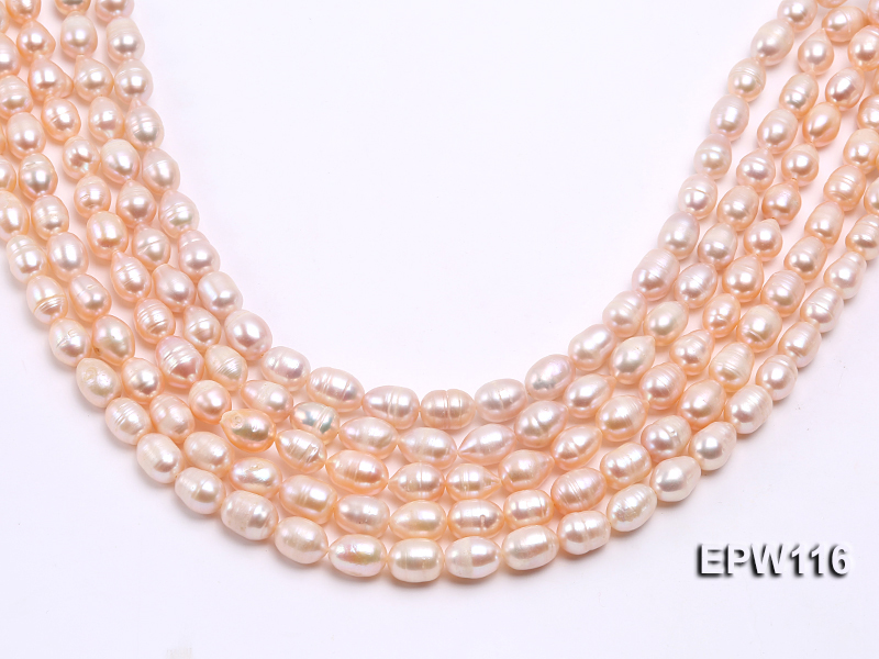 Wholesale 9x12mm pink Rice-shaped Freshwater Pearl String big Image 2