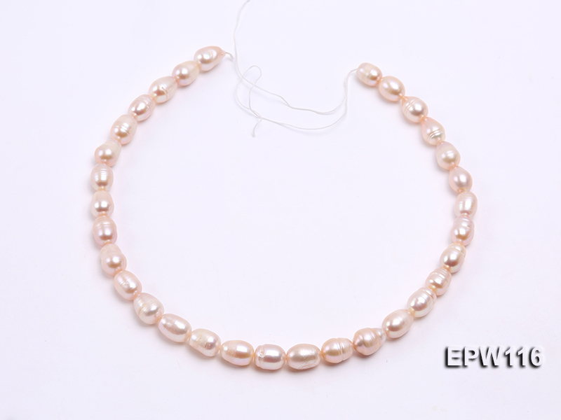 Wholesale 9x12mm pink Rice-shaped Freshwater Pearl String big Image 3