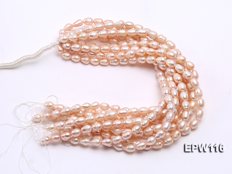 Wholesale 9x12mm pink Rice-shaped Freshwater Pearl String big Image 4