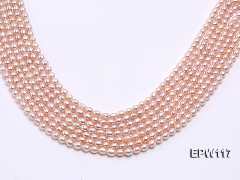 Wholesale 5x6mm High-quality Pink Rice-shaped Freshwater Pearl String big Image 1