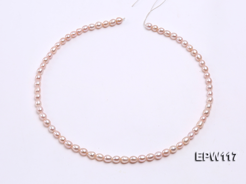 Wholesale 5x6mm High-quality Pink Rice-shaped Freshwater Pearl String big Image 3
