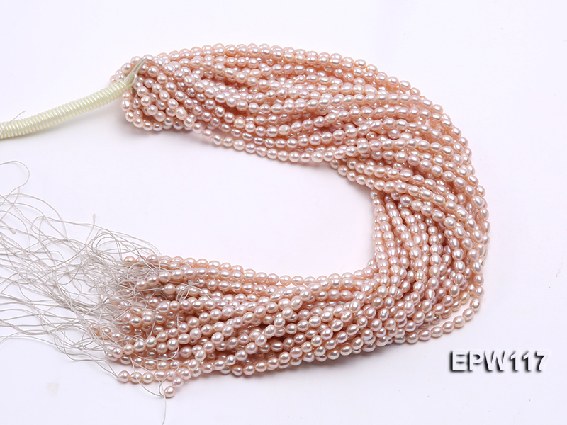 Wholesale 5x6mm High-quality Pink Rice-shaped Freshwater Pearl String big Image 4